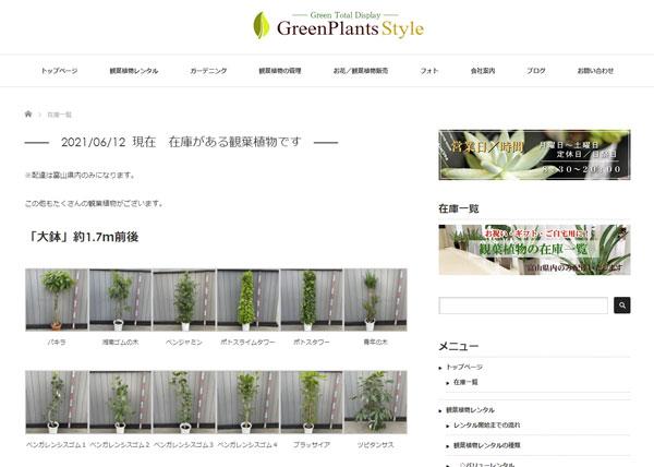 観葉植物の在庫一覧を載せます